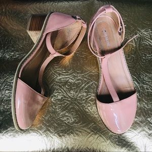 Pink Patent Leather T-Strap Sandals